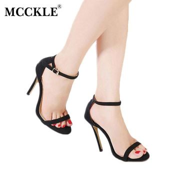 MCCKLE Women Sexy High Heel Sandals Female Ankle Strap Buckle Open Toe Shoes 2017 Eleg