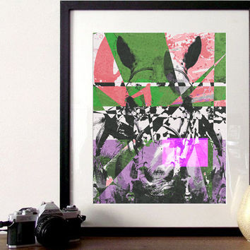 Abstract Horse Portrait colorful A3 digital print home decor art