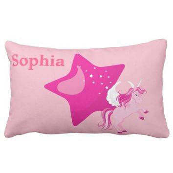 Cute Pink Unicorn and Pink Star Lumbar Pillow