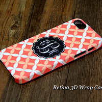 Four Leafs Pattern Custom Monogram 3D-Wrap iPhone 5S Case iPhone 5 Case iPhone 5C Case iPhone 4S Case iPhone 4 Case