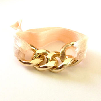 Gold Chain Peach Pink Arm Candy Hair Tie Curb Pony Jewelry Stretch Elastic Fold Over Embellished Gift Girls
