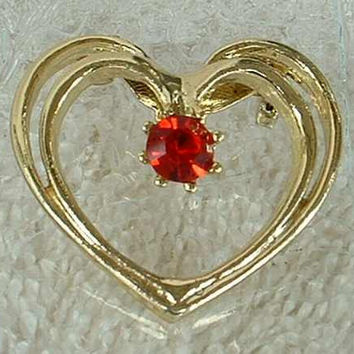 Heart Circle Pin with Red Ruby Rhinestone Sweetheart Jewelry