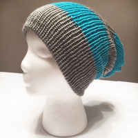 Slouchy chunky stripe knit beanie in gray and turquoise - double layered - snug fit - Womens, mens and teens - style conscious must have