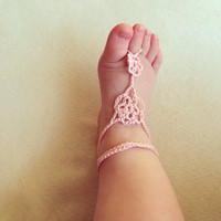 Dusty Pink Elegant Flower Girl/ Bridal Baby Barefoot Sandals, Crib Shoes, Sandals