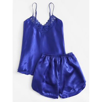 Crochet Lace Detail Satin Pajama Set BLUE