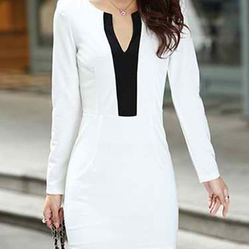 V-Neck Long Sleeve Bodycon Color Block Slimming Dress