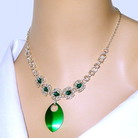 Green crystal necklace, flower necklace, byzantine romanov necklace with aluminum scales, great for prom, weddings, formal wear, women