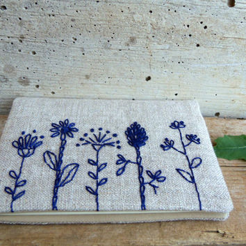 Embroidered Moleskine cahier cover with blue flowers on natural linen. Rustic journal cover