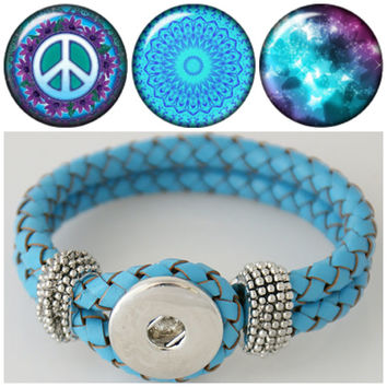Noosa style Braided Blue leather bracelet with 3 high domed chunk charms fit ginger snap