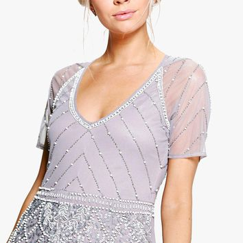 Boutique Mai Beaded Cap Sleeve Maxi Dress | Boohoo