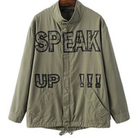 Army Green Bird Embroidered Jacket