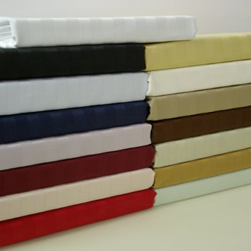 Olympic Queen TAUPE 600 Thread count Stripe Combed cotton Sheet Set