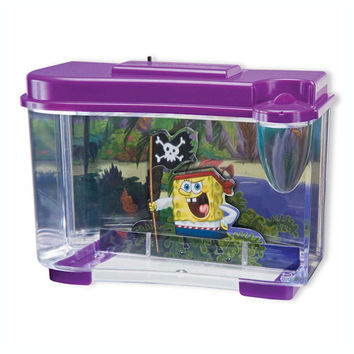 Spongebob Squarepants 3-D Pirate Tank With Led Night Light And Magnified Feeding Area, 0.75 Gallon Tank