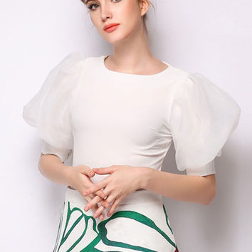 White Blouse Puff Sleeves 120