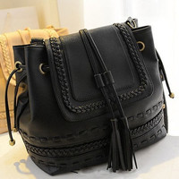 Korea Style Womens Tassels Braided Faux Leather Tote Handbag Shoulder Bag Purse = 1830120580