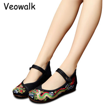 Weowalk 5 Colors Chinese Dragon Embroidery Women's Old Beijing Shoes Ladies Casual Cotton Driving Ballets Flats Big Size 34-41