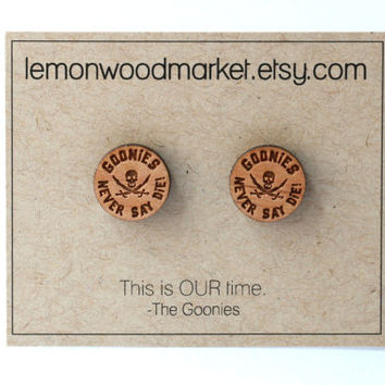 Goonies Earrings - alder laser cut wood earrings