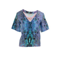 Alexis Womens Printed V-Neck Pullover Top