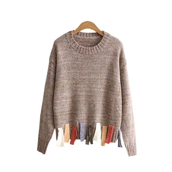 Women's Colorful Tassel Knitted Pullover Sweater Jumper