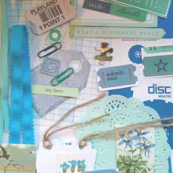 Blue and green papercrafting kit. Collage pack. Junk journal kit.