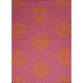 Jaipur Rugs FlatWeave Moroccan Pattern Pink/Orange Wool Area Rug MR15 (Rectangle)