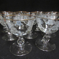 Libby White Rose Crown Cordial Glasses, Gold Rim , Desert Cups,Champagne Coups, Barware, Set of 9   (1523)