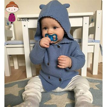 Boys Brand Sweater Cardigan Jacket Infant Fashion Clothes Coat Children Hooded Jackets Coats Girl Knitted Baby Outwear Sweaters