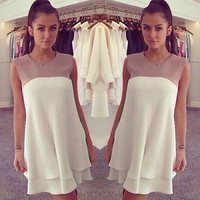Women Summer Sexy Chiffon Loose Slim Casual Party Evening Short Mini Dress Skirt
