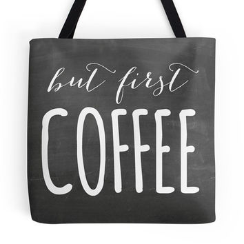 But First, Coffee Tote Bag, Market, Chalkboard, Black