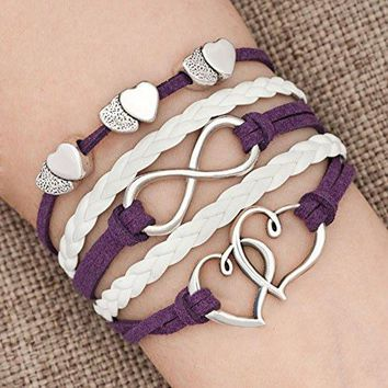 AUGUAU LovelyJewelry Leather Wrap Bracelets Girls Double Hearts Infinity Rope Wristband Bracelets