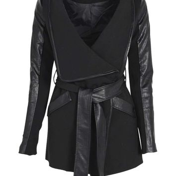 Kallie Belted Waterfall Faux Leather Trim Jacket