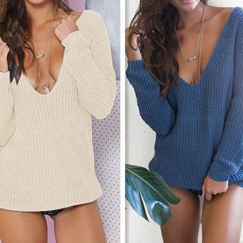 PEAPON Fashion deep V knitted sweaters