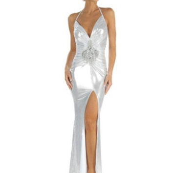 Silver Sexy Beaded Sequin Applique Stripper Gown
