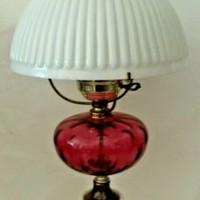 Fenton for LG Wright Cranberry Coin Optical Dot Lamp Milk Glass Ribbed Shade