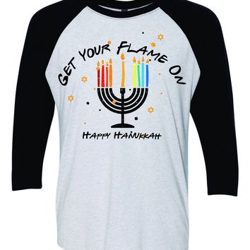 Get your Flame on rainbow Menora fun Hanukkah Baseball Shirt  - Holiday 8 crazy nights Jewish Chanukah
