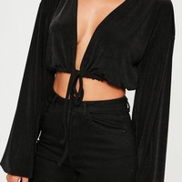 Missguided - Black Blouson Sleeve Tie Waist Crop Top