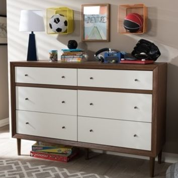 Baxton Studio Harlow Mid-century Modern Scandinavian Style White and Walnut Wood 6-drawer Storage Dresser - 17839046 - Overstock - Great Deals on Baxton Studio Dressers - Mobile