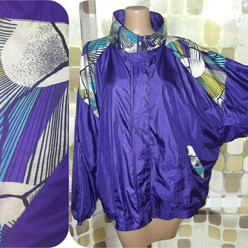 Vintage 80s 90s Purple Windbreaker | Colorful Windbreaker |  Track Jacket | Tracksuit Jacket | Vaporwave | Size XXXL | Plus Size Big & Tall
