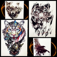 Fierce Tiger Animal Beast Waterproof Temporary Tattoo For Men Body Art Fake Flash Tattoo Stickers, Black Spray Tatoo Women Decal