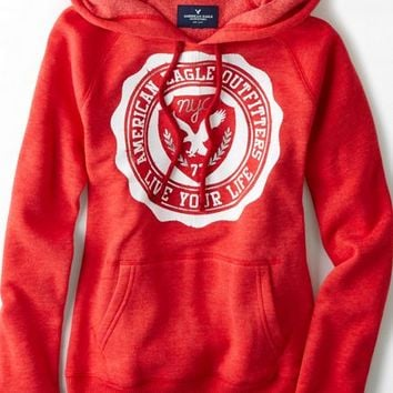 AEO Women's Signature Graphic Hoodie (Red)