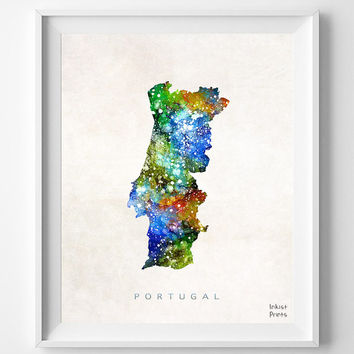 Portugal Map, Watercolor, Lisbon, Portuguese, Europe, Home Town, Poster, Gift, Nursery, Room, Baby, Painting, Bedroom, world map [NO 463]