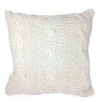Cable Knit Decorative Down Filled Throw Pillow - Vanilla - 20-in