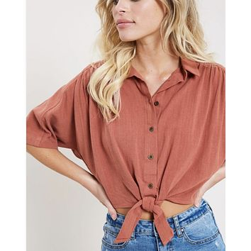 Button Up Crop Tie Blouse