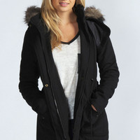 Leah Wool Mix Draw Cord Waist Parka With Faux Fur Hood