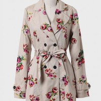 Epiphany Floral Trench Coat By Tulle