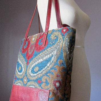 Jacquard Leather Shoulder Tote Bag, Fabric and Leather, Shopping bag, Shoulder bag, Kilim bag, carry all bag, Handmade by VitalTemptation
