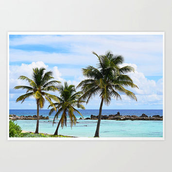 Playa Chen Rio - Photograph Print, Beach Landscape Wall Art Decor, Blue & Green Tropical Palm Trees Home Backdrop. In 8x10 11x14 16x20 20x30