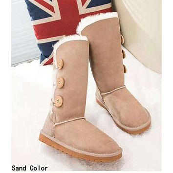 UGG: Classic Fashionable Women Three Buttons Leather Warm Wool Boots In Tube Sand Color