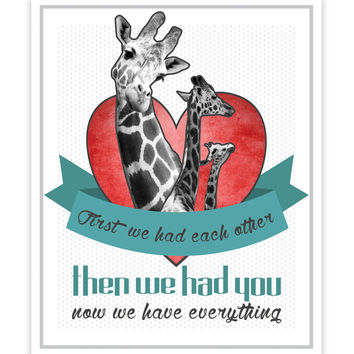 Print or Canvas, First We Had Each Other Giraffes in Turquoise