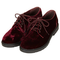 METRO Velvet Lace Up Shoes - Topshop